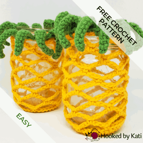 pineapple jar covers free crochet pattern from Hooked by Kati feature pic