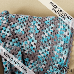 Continuous Granny Stitch Blanket free crochet pattern, video tutorial | Hooked by Kati