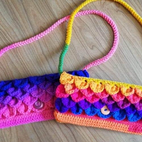 dragon scale clutch purse crochet pattern   romanian cord   icord   Hooked by Kati