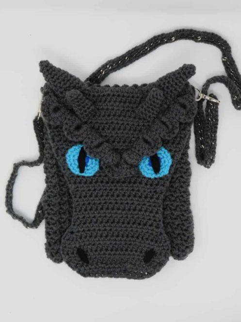 Frost Dragon Cross Body Bag | Dragon Purse crochet pattern mods