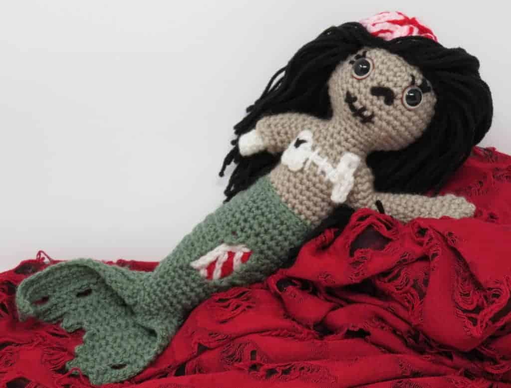 Zombie Mermzombie mermaid amigurumi free crochet pattern | Hooked by Katiaid crochet pattern printable .pdf | Hooked by Kati