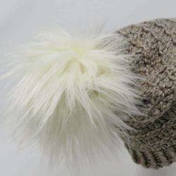 faux fur pom pom crochet hat video tutorial | Hooked by Kati