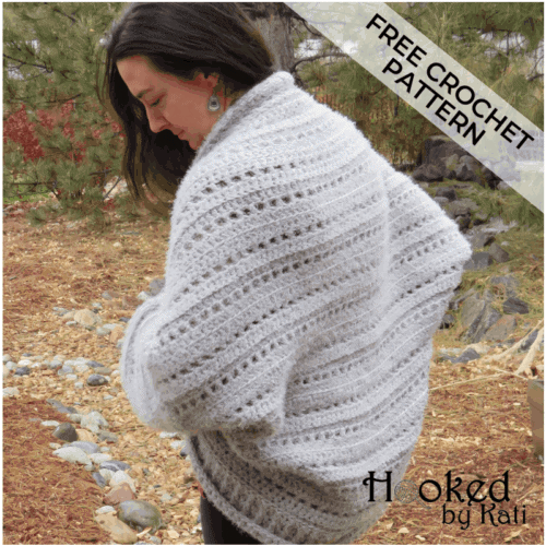 first snow cocoon cardigan sweater free crochet pattern, Hooked by Kati