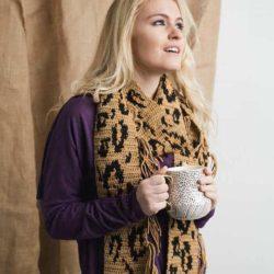 lengthy leopard scarf   I Like Crochet Magazine   Hooked by Kati