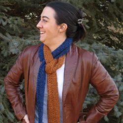 denim duet scarf free crochet pattern @ joy of motion crochet by Hooked by Kati guest blogger