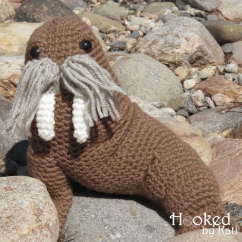walter the walrus   free crochet amigurumi pattern   Hooked by Kati
