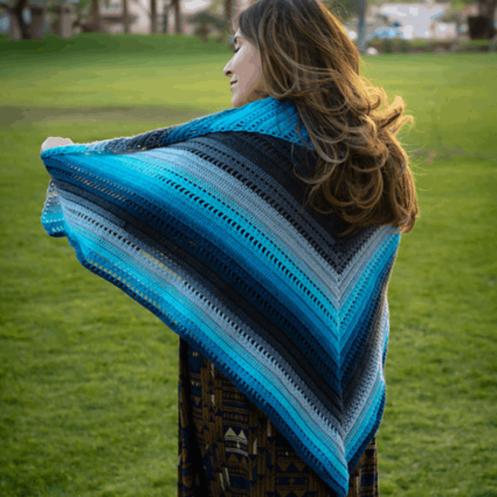 Set Adrift Triangle Shawl Crochet Pattern, printable .pdf   Hooked by Kati