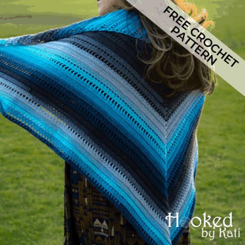 set adrift triangle shawl free crochet pattern | Hooked by Kati