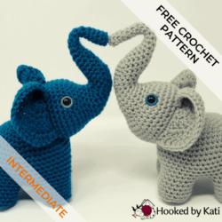 Elephants in Love free amigurumi crochet pattern, from Hooked by Kati