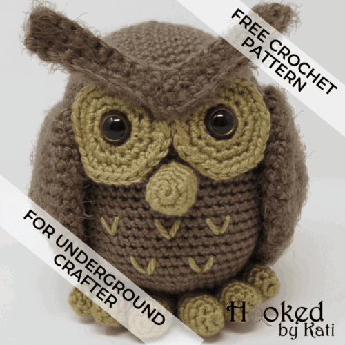 hygge owl free amigurumi crochet pattern for Underground Crafter by Hooked by Kati