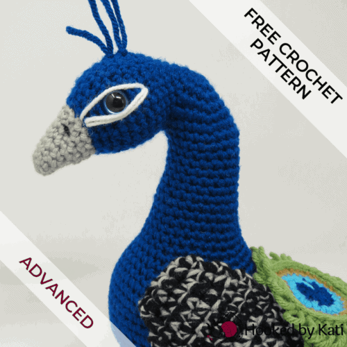 Regal the Peacock free amigurumi crochet pattern from Hooked by Kati