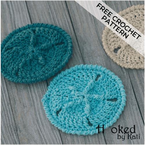 sand dollar coasters free crochet pattern Hooked by Kati