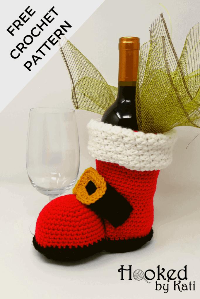 """""""Ho Ho Merlot"""" Bottle Boot, a free crochet pattern from Hooked by Kati"""