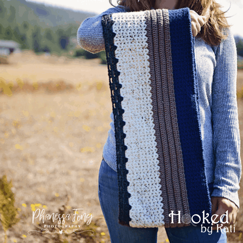 Everyday, Everywhere Scarf free crochet pattern, Hooked by Kati