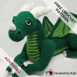 Vincent the Dragon crochet amigurumi pattern Hooked by Kati