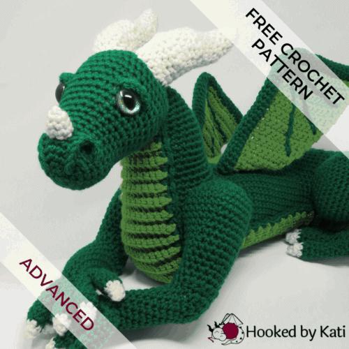 Vincent the Dragon crochet amigurumi pattern Hooked by Kati