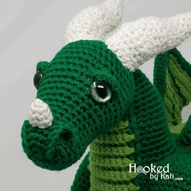 Vincent the Dragon amigurumi close up
