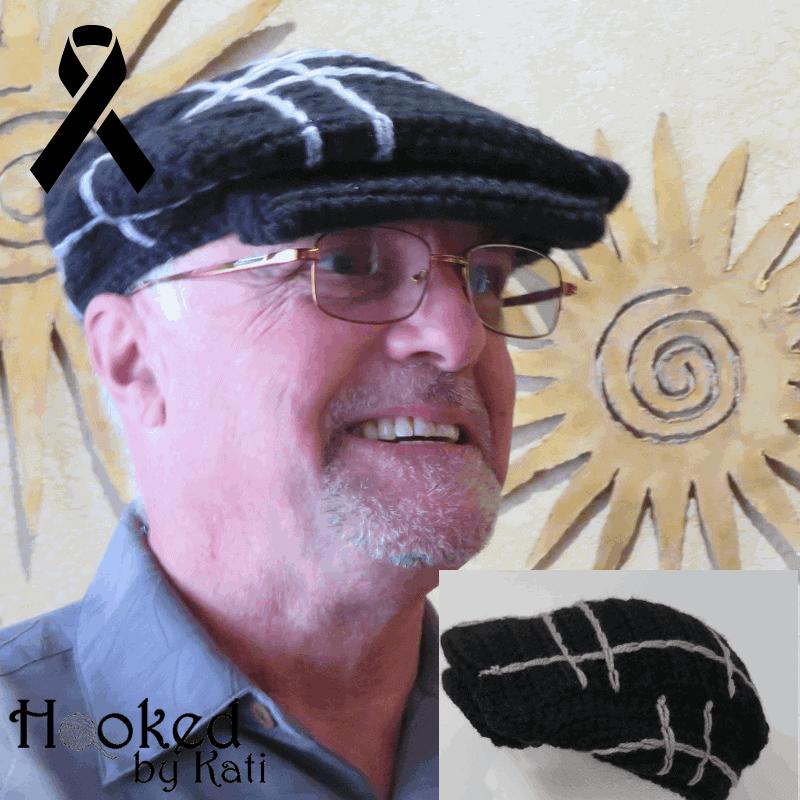 #crochetcancerchallenge melanoma awareness hat