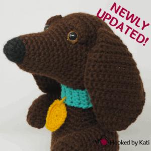 Schnitzel the Dachshund amirgurumi Premium crochet pattern printable from Hooked by Kati