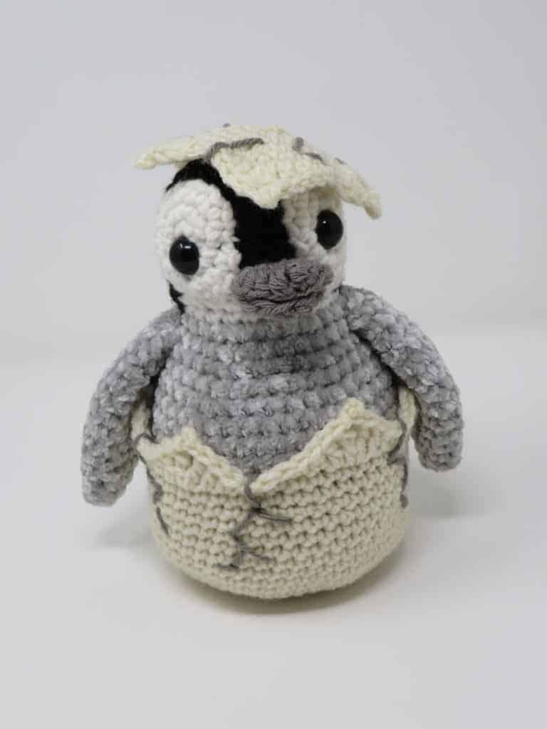Hatching Penguin Chick free crochet amigurumi pattern Hooked by Kati