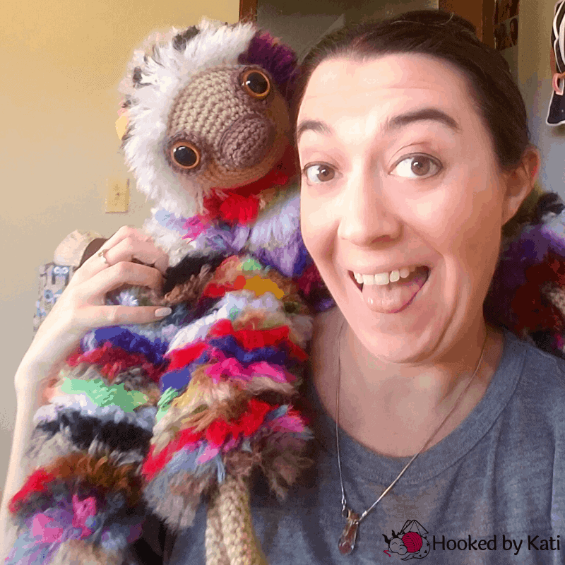Scrappy the Sloth free amigurumi crochet pattern from Hooked by Kati