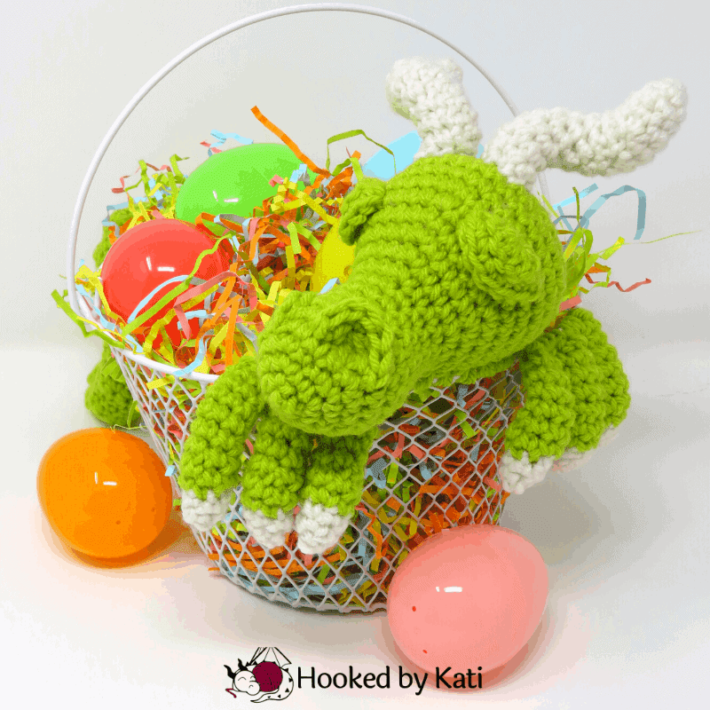 Dragon Easter Basket Free Crochet Pattern from Hooked by Kati