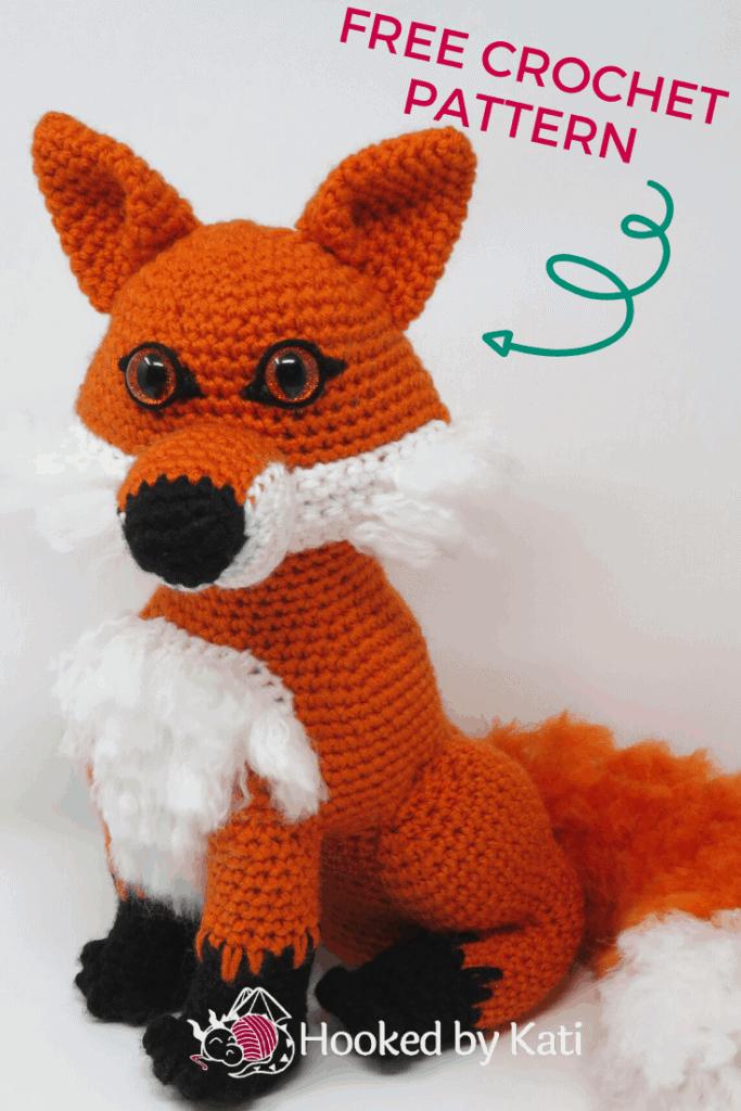 clark the fox free amigurumi crochet pattern | Hooked by Kati pin
