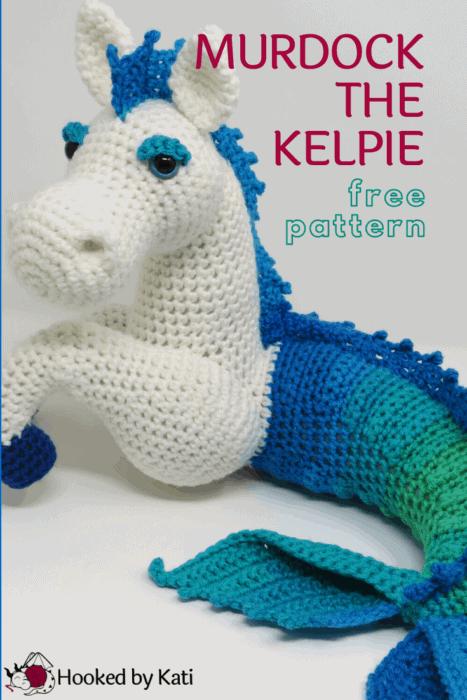 free kelpie crochet pattern, mermaid horse amigurumi, pin