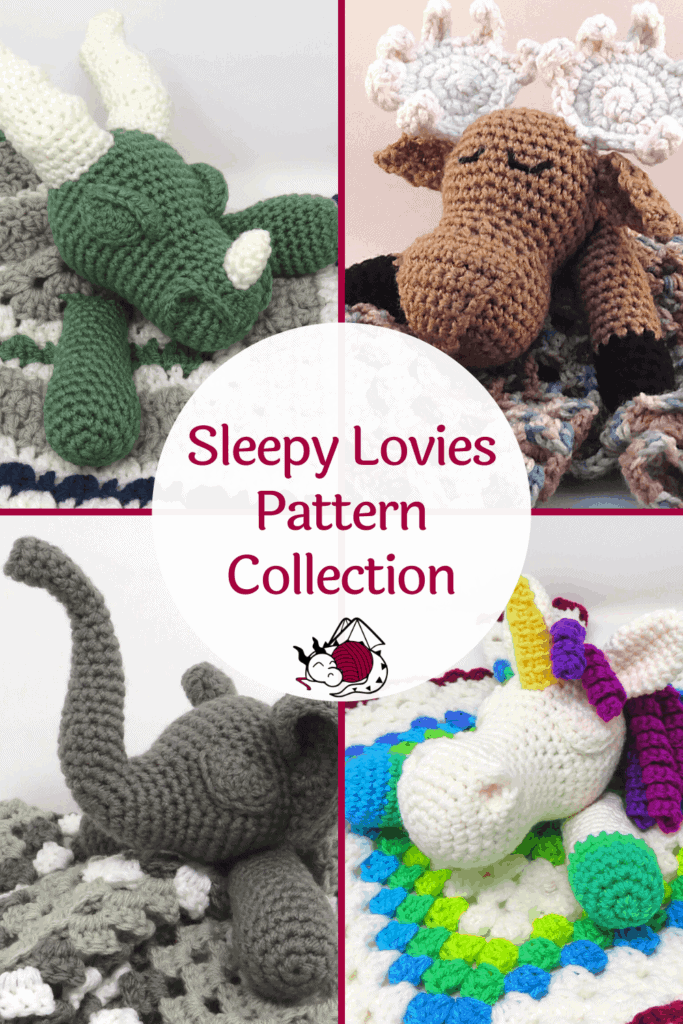 Sleepy Lovies Pattern Collection from Hooked by Kati, available as a printable .pdf digital file, pin