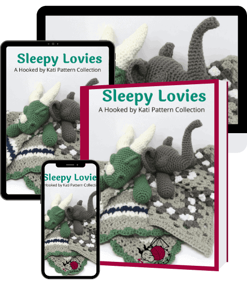 Sleepy Lovies Pattern Collection from Hooked by Kati, available as a printable .pdf digital file, image