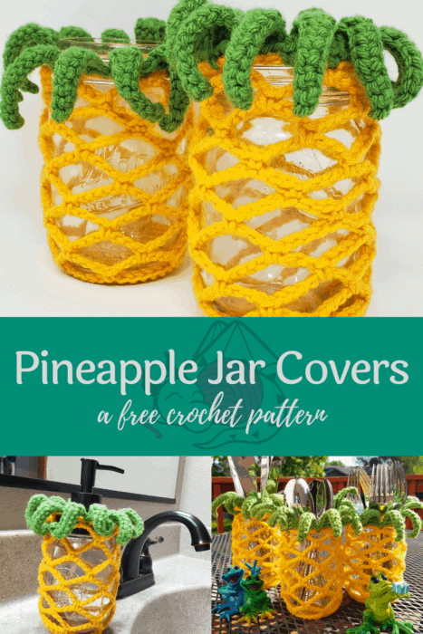 pineapple jar covers free crochet pattern from Hooked by Kati, pin