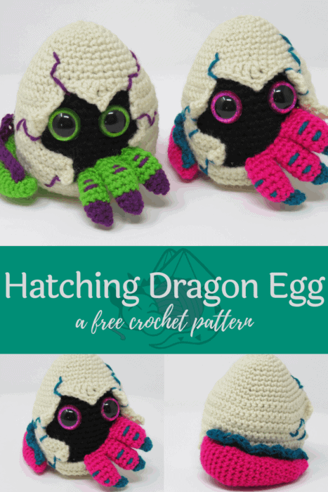 Hatching dragon egg free crochet pattern, from hooked by kati, pin