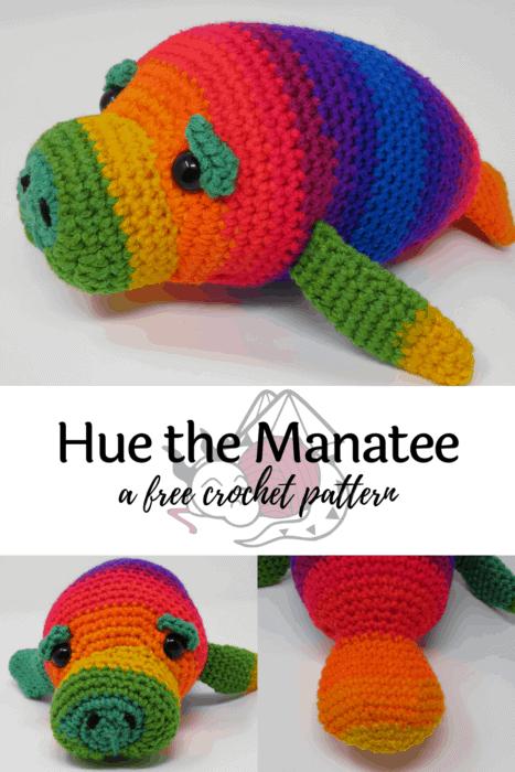 Free manatee crochet pattern, hue the manatee, Hooked by Kati