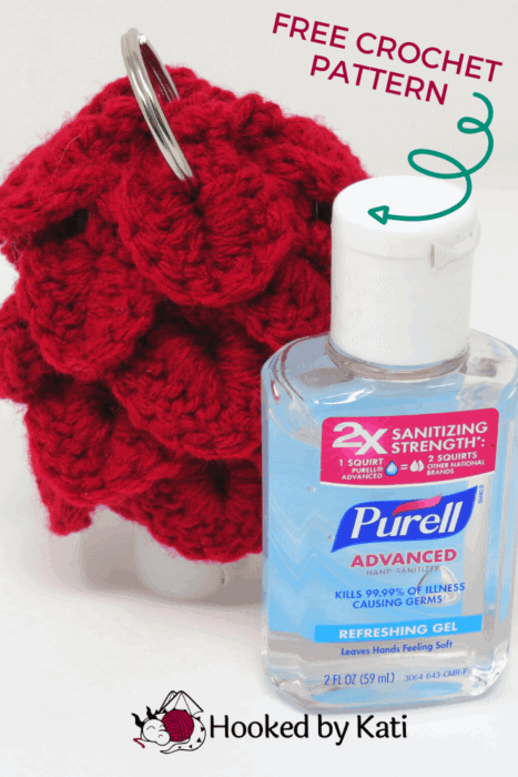 Dragon scale hand sanitizer holder, keychain for travel size purell, hooked by kati
