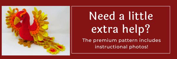 Ember the Phoenix free amigurumi crochet pattern from Hooked by Kati